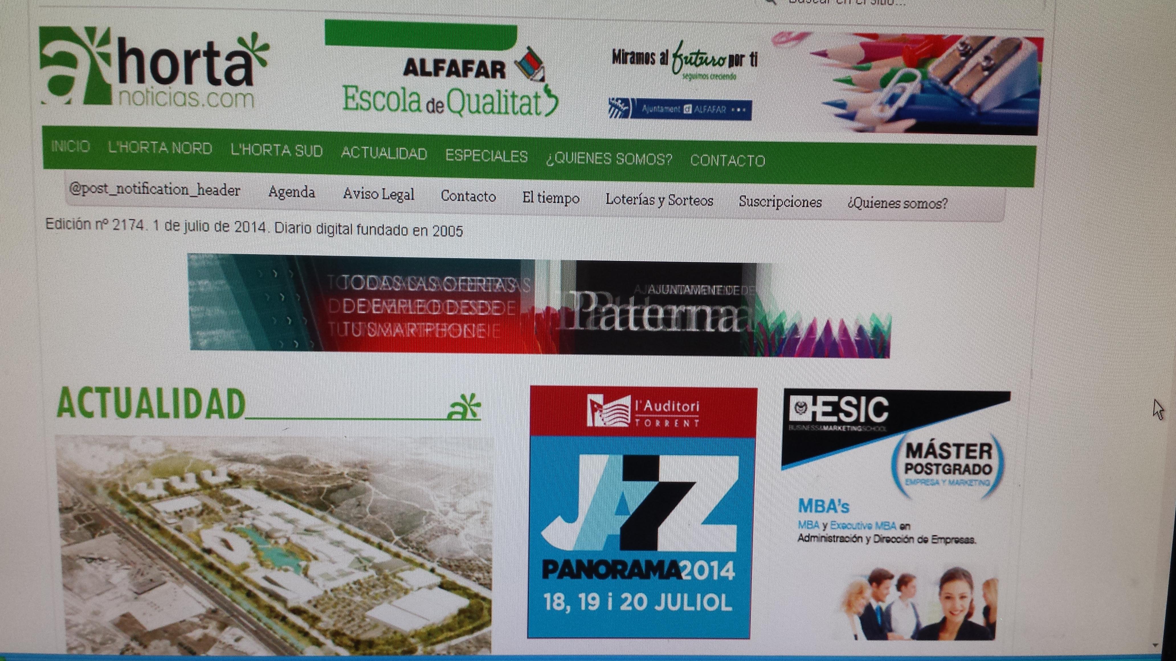 Captura de la web de Horta Noticias, cumple 9 años